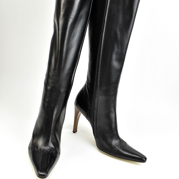 4f2a09283 Gucci Shoes | Black Leather Tall Boots | Poshmark